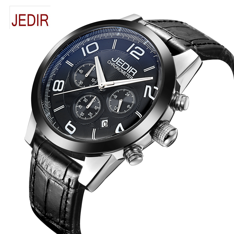 Mens Watches Top Brand Luxury JEDIR Men Military Sport Luminous Wristwatch Chronograph Leather Quartz Watch relogio masculino  mens watches top brand luxury jedir quartz watch chronograph luminous clock men military sport wristwatch relogio masculino