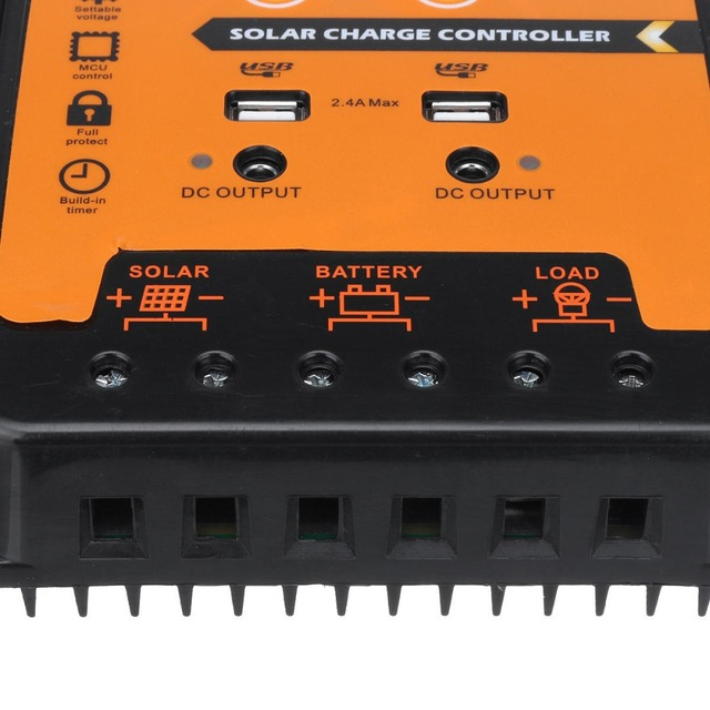 12V 24V 70A PWM Intelligent Solar Charge Controller Regulator LCD Display USB output for Lithium and Lead-acid battery 4