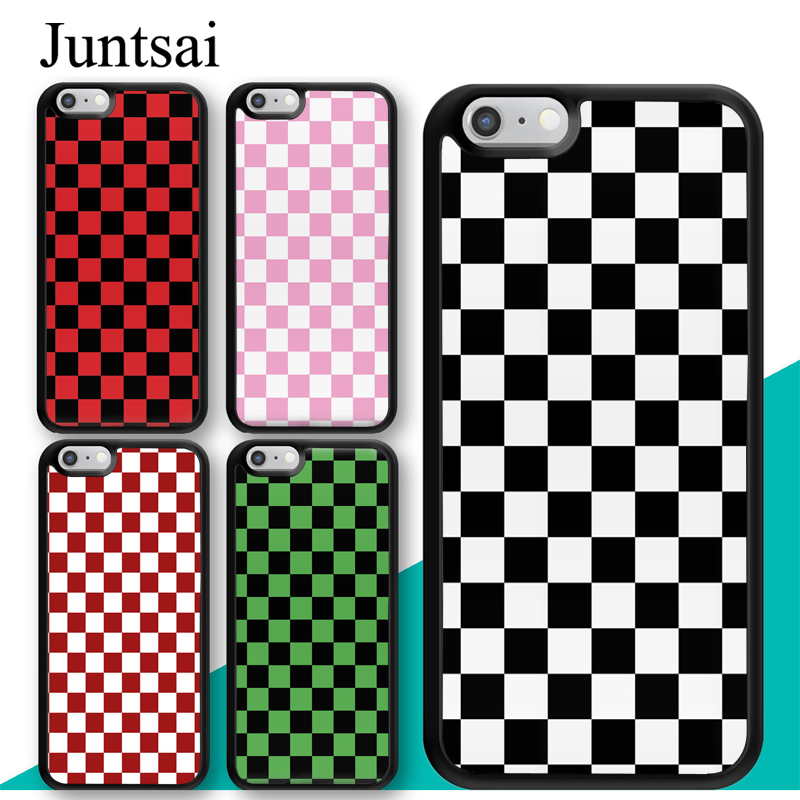 reputable site 8feb7 cccbb US $2.99 5% OFF|Juntsai Checkerboard Plaid Checked Checkered Phone Case for  iphone X XR XS MAX 6 6s 7 8 Plus TPU Cover Coque For iphone 7Plus-in ...