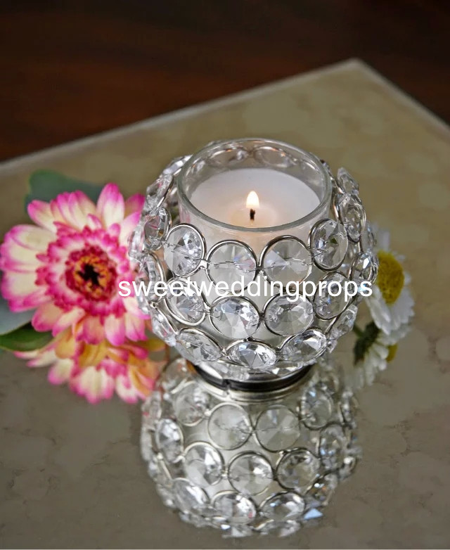Pcs Candlestick Different Sizes Crystal Glass Candle Holders - Restaurant candle holders for table