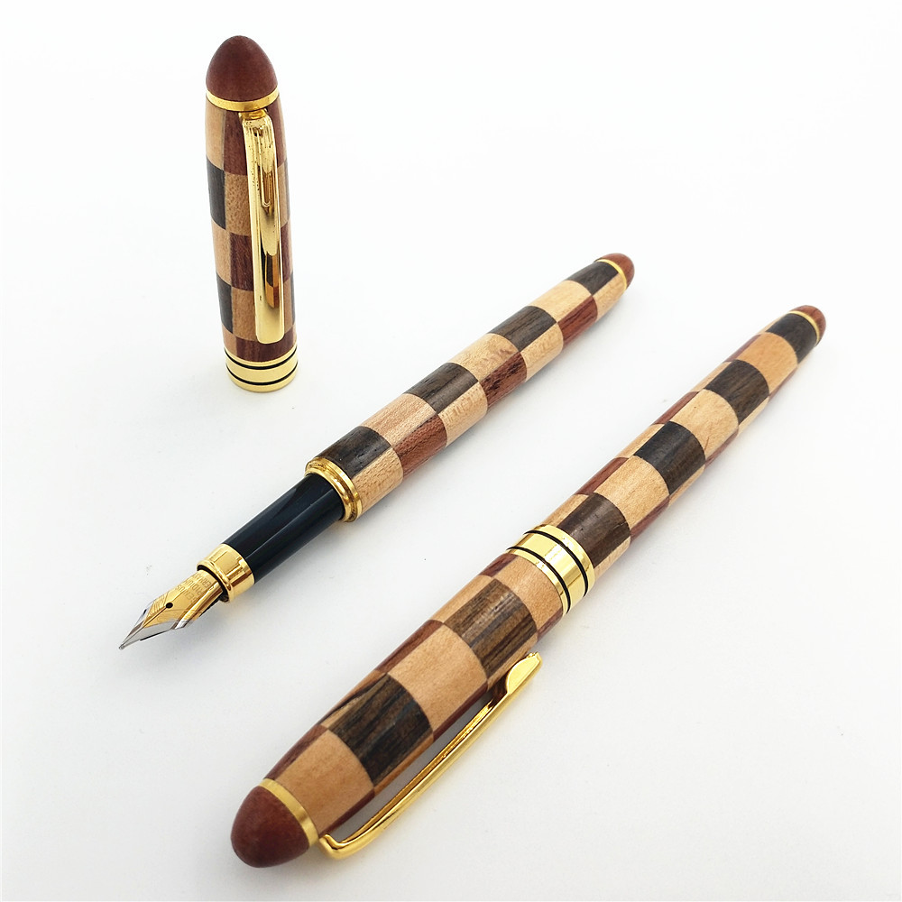 1PC Small Squares Hand spelled Fountain Pen Fine Flower Pear Wood Maple Pen in Fountain Pens from Office School Supplies