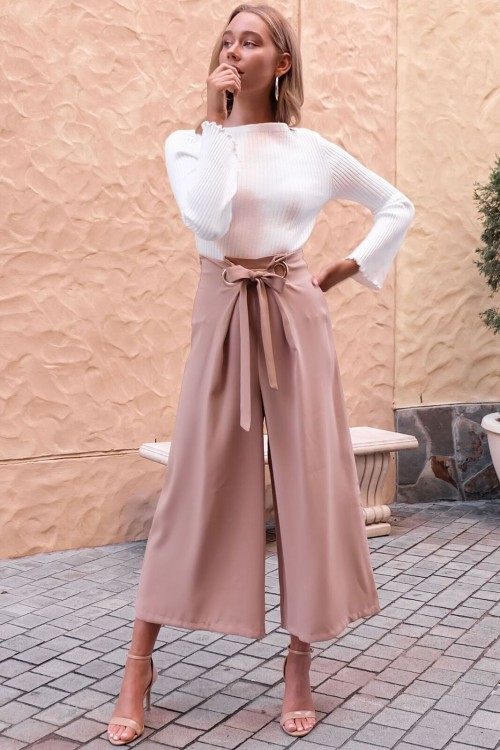 2018 new hot  women Belt trousers Solid Sexy female straight wide leg pants