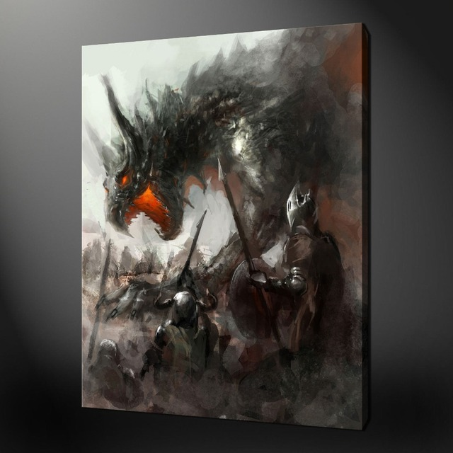 MEDIEVAL DRAGON FANTASY Art Oil Painting  2017 Good Art Painting # TOP HOME  Decor ART