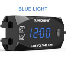 6V-30V 2-in-1 Voltmeter Vehicle Time Clock Multi-function With Digital Display For Motorcycle Electric