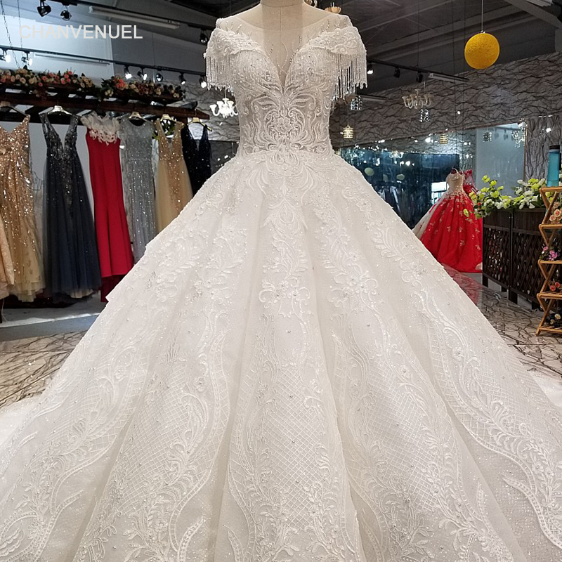 LS34449 cap sleeve wedding dress with beads o-neck sweetheart cheap beauty bridal wedding dressing gown china 2018 latest design