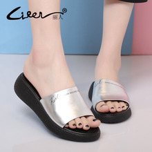 LIREN 2017 Fashion Women Summer Breathable Leisure Slippers Handmade Womens Shoes Genuine Leather Beach Slipper Black Sandals цена