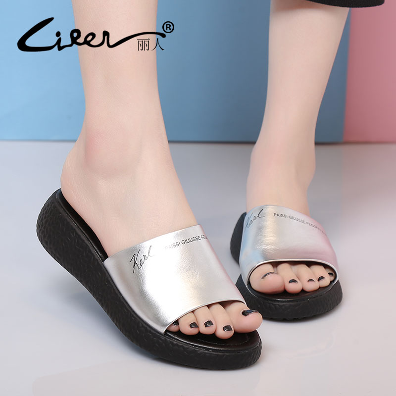 LIREN Size 40 Women Shoes Summer Comfortable Breathable Soft Bottom Slippers Handmade Casual Womens Shoes Genuine Leather Flats