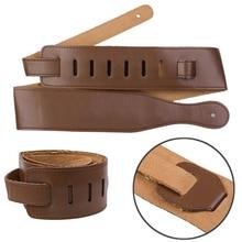 New Brown Adjustable Tali Lembut PU Kulit Tebal Untuk Listrik Acoustic Guitar Bass Belt Alat Musik Aksesoris