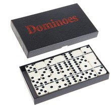 Wooden White Dominoes Board Game 28Pcs/Set Travel Dominoes with Box for Children Game(China)