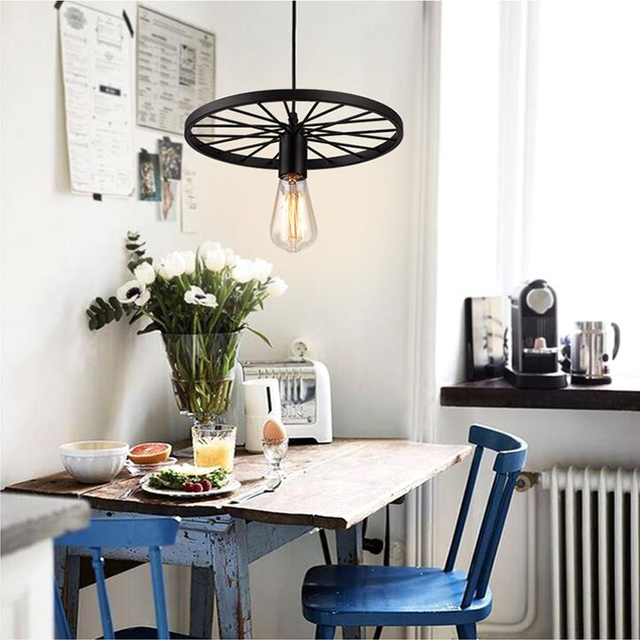 Aliexpress buy antique retro guard wire cafe loft droplight antique retro guard wire cafe loft droplight fixture iron wheel shape pendant light hanging fitting metal greentooth Gallery