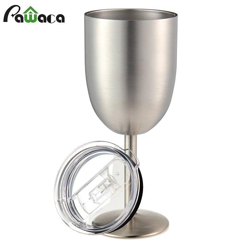 Vidro de cocktail selado vácuo da parede dobro dos vidros de vinho de aço inoxidável com tampa resistente do escape para piqueniques exteriores
