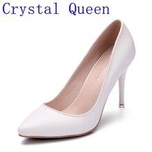 Kristall Königin Frauen Pumpt Schuhe Frau High Heels Pumpen Stilettos schuhe Frauen Weiß High Heels 9 CM Hochzeit Schuhe Dame Party pumpen