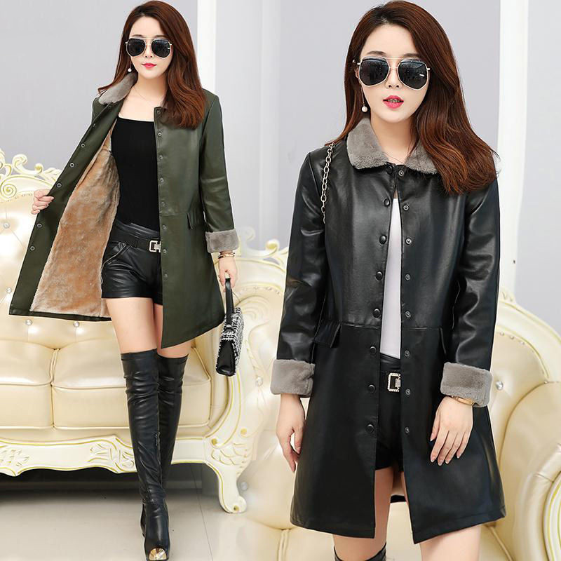 XL-5XL Winter Fleece Female   Leather   Jacket PU   Leather   Jacket For Women Casual Turn Collar Warm Long Outerwear 2019 New