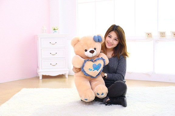 cute plush brown teddy bear toy blue heart and bow bear doll gift about 70cm huge lovely plush teddy bear toy with blue heart and bow creative bear doll gift about 120cm