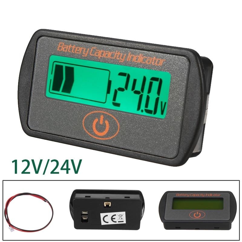New Arrival 2018 12V/24V LCD Digital Display Lead-Acid Battery Percentage Voltmeter Voltage Meter Batterie Capacity Test Tool