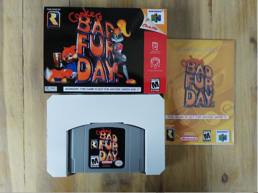64 Bit Games ** Conker's Bad Fur Day ( USA Version!! box+manual+cartridge!! ) 64 bit games conker s bad fur day english pal version chip save file no need battery