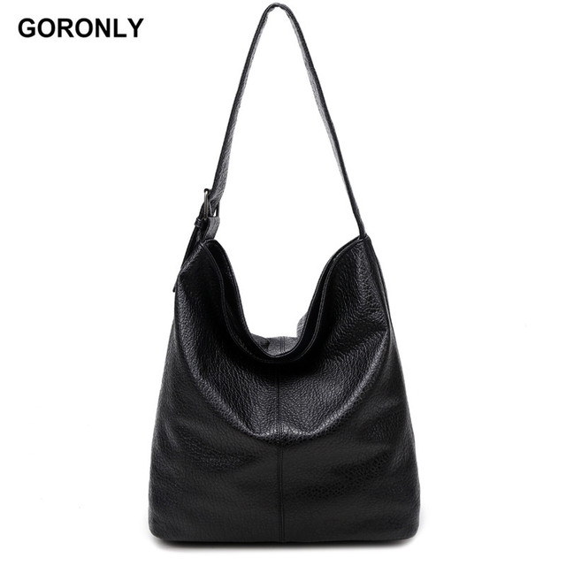 Goronly Brand Simple Style Soft Leather Large Handbag Women Designer Hobos Bag Female Shoulder Bags Fashion