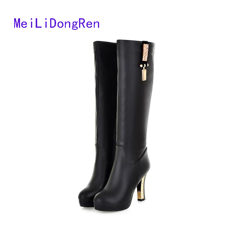 Women Boots 2017 Winter Autumn Ladies Sexy Knee High Boots Quality Rhinestone PU High Thick Heels Women Shoes Botas Mujer new women knee high boots black and white sexy low heels pu leather autumn winter shoes round flat platform boots botas mujer
