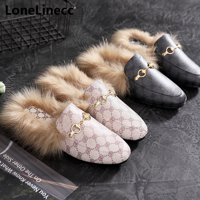 2018 Autumn Slippers ladies Home Shoes Women outdoor Women Slippers Flats Brand Winter Faux Fur Slipper Slides Mules shoes woman