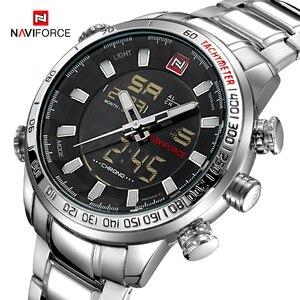 Image 1 - Часы наручные NAVIFORCE Мужские кварцевые в стиле милитари, брендовые светодиодсветодиодный аналоговые цифровые армейские, из нержавеющей стали