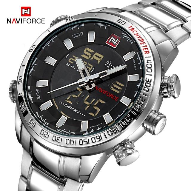 Часы наручные NAVIFORCE Мужские кварцевые в стиле милитари, брендовые светодиодсветодиодный аналоговые цифровые армейские, из нержавеющей стали