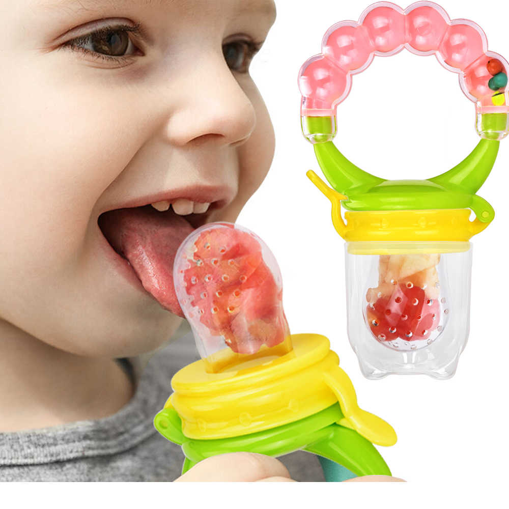 Nursing And Baby Biting Baby Infant Pacifier Feeding Nipples Silicone Soft Solid Feed Tool Fruit Juice Bite Bags Sucking Nipple Toddler Teether Feeding