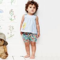 Kids Clothes Animals Appliqued 2018 Kids Girls Clothes Set Fashion Woven Toddler Girls Summer Clothing Set