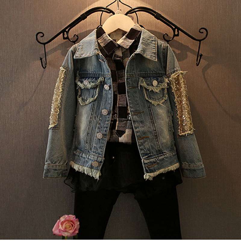 47d51f380 Aliexpress.com   Buy 1 12Yrs Baby Girls Hole Denim Jackets Coats ...