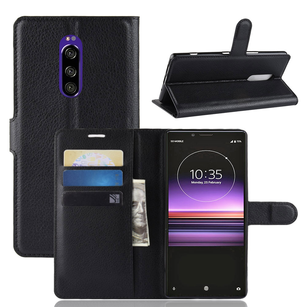 For <font><b>Sony</b></font> <font><b>Xperia</b></font> <font><b>1</b></font> Wallet PU Flip <font><b>Leather</b></font> <font><b>Case</b></font> Cover For <font><b>Sony</b></font> Xperia1 J8110 J8170 J9110 image