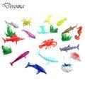 Multicolored Fish SeaWorld 16PCS Children Identify 2 Inch Fish Animal Model Simulation Plastic Toys With Aquatic Plants