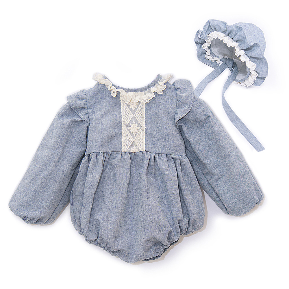 2019 Ins Baby Kids Cute Western Fashion Rompers With Ruffles Lace Hats Spring Autumn Long Sleeve
