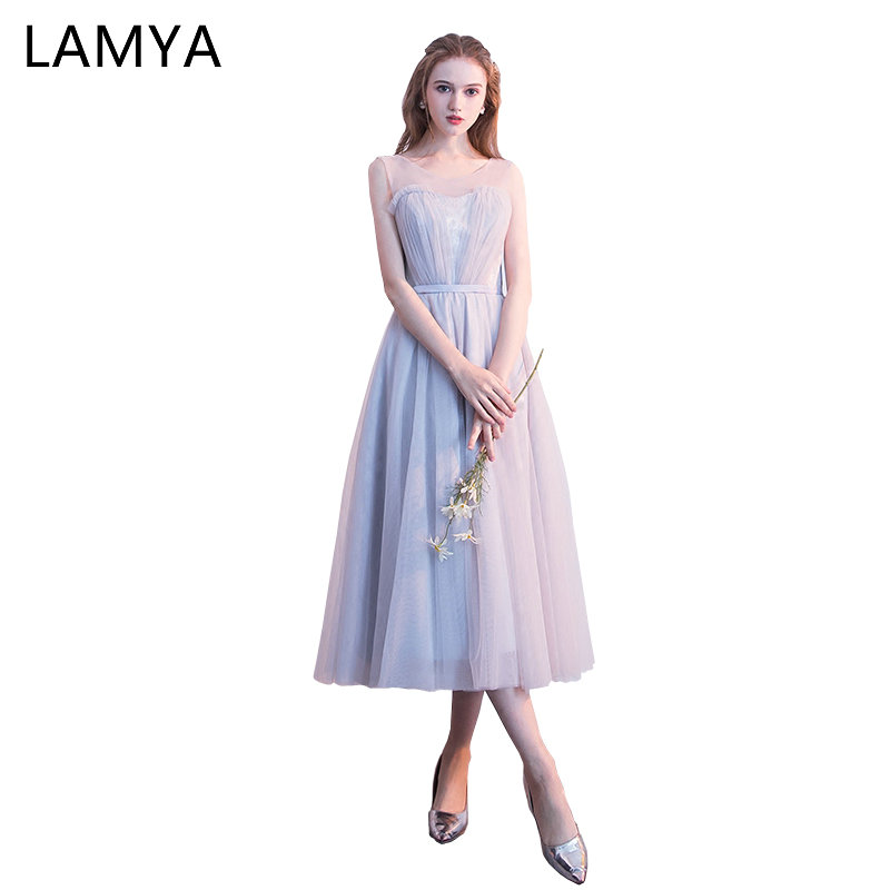 LAMYA 2019 Wedding Party Dress For Woman Vintage Bridesmaid Dresses Bride Elegant Tea Length Tulle vestido de festa longo
