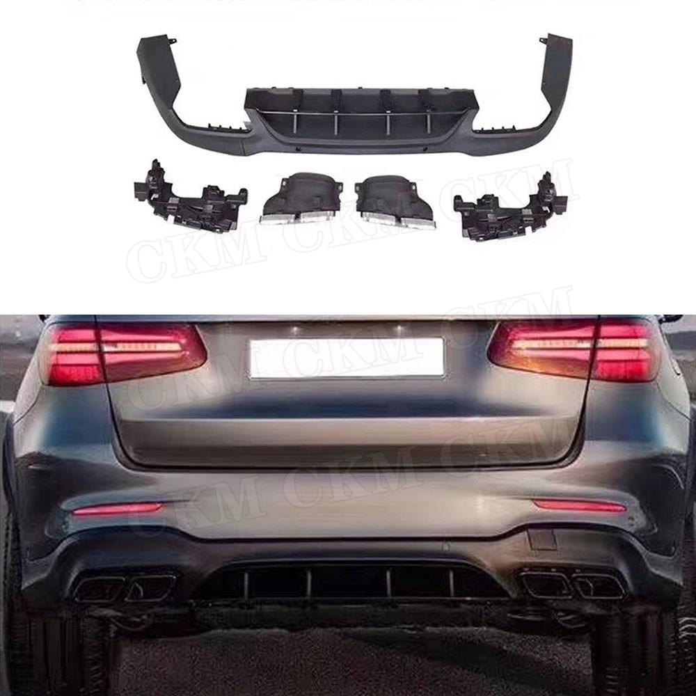 Diffuseur à lèvres arrière en PP avec embouts d'échappement | Pour Mercedes Benz GLC X253 Sport GLC 300 GLC250 GLC43 2017-2019
