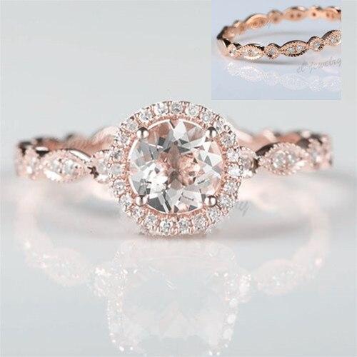 Твердое розовое золото 14 к 6 мм круглое натуральное морганит натуральные Алмазы обручальные кольца