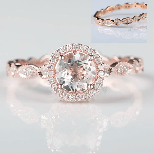 SOLID 14 К розовое золото 6 мм круглый Подлинная морганит природных алмазов Обручение кольцо