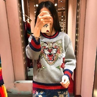 2018 Winter Runway Designer Cat Sequins Women Sweater Pullover Long Sleeve Female Christmas Knitted Sweaters Jumper Clothes