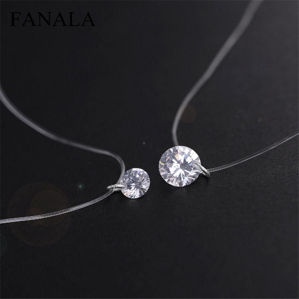 Fashion Jewelry Fish Invisible Necklace Transparent Collier Zircon Bijoux Collares Shining Line Clavicle Necklace Women Pendant
