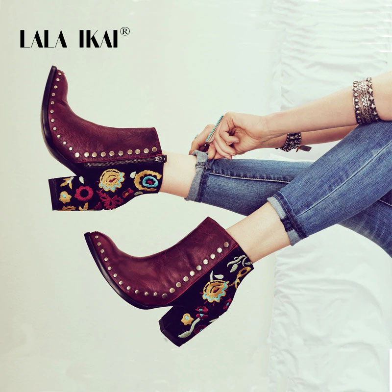 LALA IKAI Women Embroider High Ankle Shoes Boots Wine Red Flock Leather Plus Size Zipper Rivet Flower Shoes 014C2292 -49 shoulder cut plus size flower blouse
