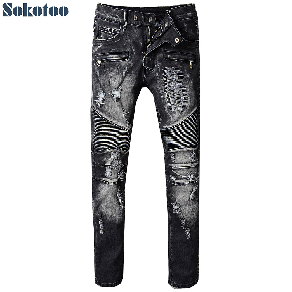 Men original Slim Ripped Jeans Distressed Pants