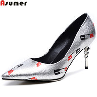 Asumer 2017 Hot Sale New Arrive Women Pumps Fashion Pointed Thin Heels Single Shoes Elegant Print