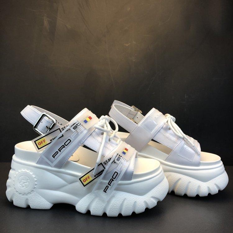 HTB1dJgrOPDpK1RjSZFrq6y78VXaq 2019 Summer Chunky Sandals Women 8cm Wedge High Heels Shoes Female Buckle Platform Leather Casual Summer Slippers Woman Sandal