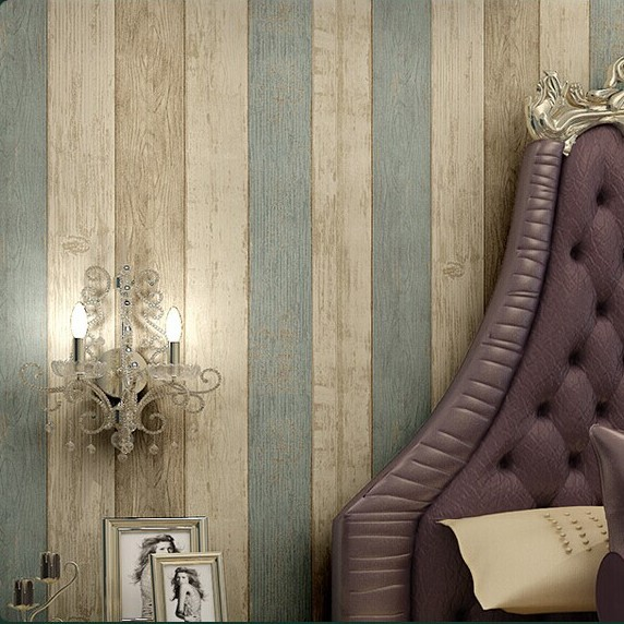 Wood Stripe Wallpaper For Walls Fashion Wallpapers Modern Mediterranean  Style Vertical Wall Paper Papel De Parede