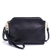 Fashion Women's Messenger Bag Wrist Strap Phone Clutch Genuine Leather Cowhide Small Shoulder Shell Bag Flap Purse Handbag(China)