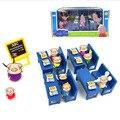 Brinquedos Amigos Porco Porco cor de rosa Sala de Aula Da Escola de Ônibus PVC Ação figuras prtend play brinquedos educativos presente de aniversário para meninos das meninas crianças