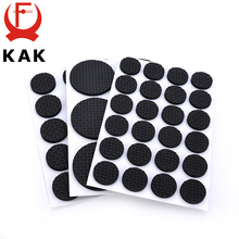 KAK 1-24PCS Self Adhesive Furniture Leg Feet Rug Felt Pads Anti Slip Mat Bumper Damper For Chair Table Protector Hardware cheap Soft TPR chairmat-003 Metalworking Different 8 size Round Square Black Furniture Leg Feet Pads Anti Slip Mat Chair Table Protector