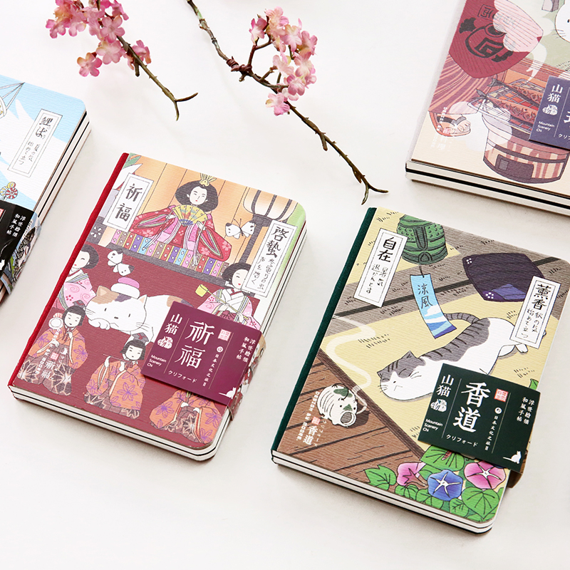Creative artistic small notebook Japanese bobcats schedule plan book 107x145mm hand diary book student supplies
