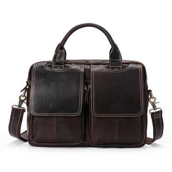 New Arrival Genuine Leather Men\'s Briefcas Cowhide Retro Business Men\'s Crossbody bags Shoulder Handbag Men\'s Messenger Bag