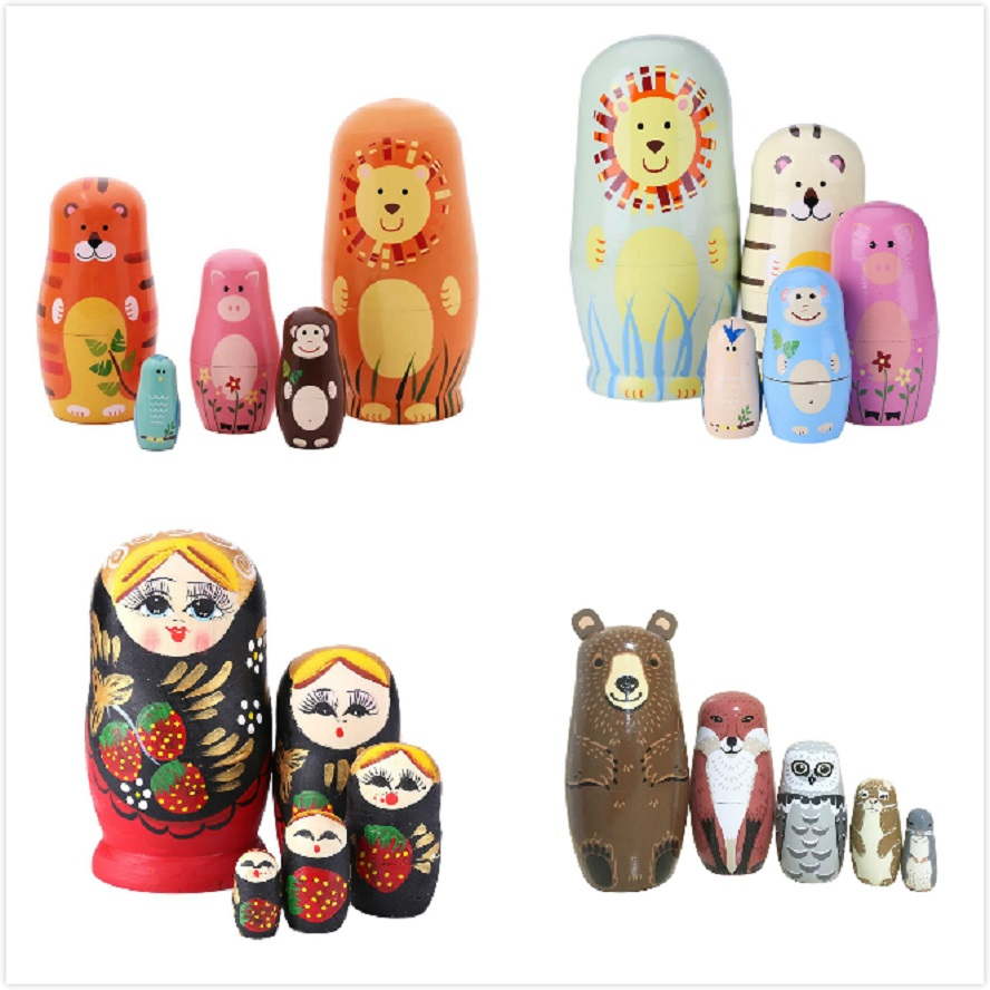 5pcs Wooden Russian Nesting Dolls Braid CartoonTraditional Matryoshka Dolls rose gold weed grinder
