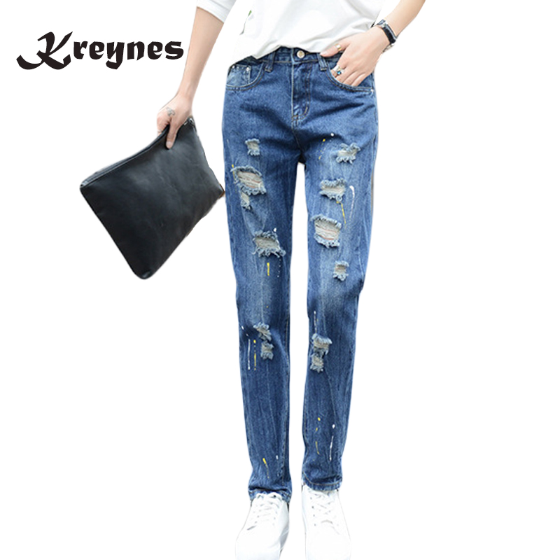 2017 Women's loose plus size ripped jeans Lady's boyfriend jeans for women Female casual High Street hole denim Pencil pants клаксон oem 12v 3 22 air raid
