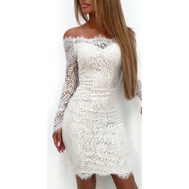 Модные женские туфли элегантные дамы с длинным рукавом Кружево цветочный с открытыми плечами Платье облегающее тонкий твердый белый Повседневное праздничное Короткое мини-платье